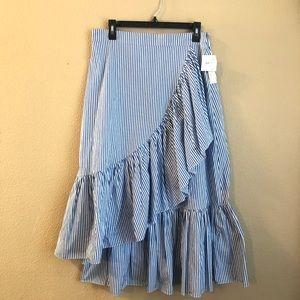 Stripe asymmetrical skirt